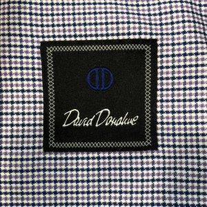 David Donahue (16/34-35) purple plaid dress shirt.